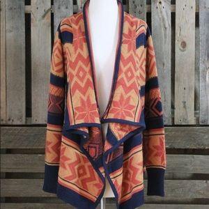 Beautiful navy and orange aztec print open sweater
